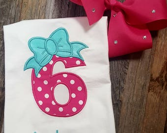 Birthday Shirt - Number - Age with Bow - Name - Age 1 - 8 available - you choose color