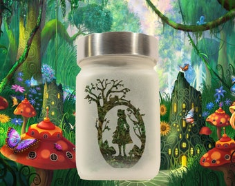 Alice in Wonderland Stash Jar & Cannabis Edibles Canister - Stoner Girl Gift - Weed Accessories, Weed Stash Jars - Stoner Accessories
