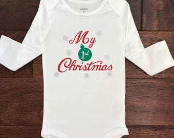 my first Christmas onesie, my 1st Christmas onesie, girl Christmas onesie