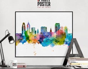 Philadelphia art print, Philadelphia poster, Philadelphia wall art, Philadelphia skyline watercolour print, travel poster, iPrintPoster