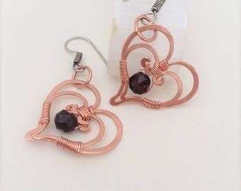 Garnet Heart Earrings January Birthstone