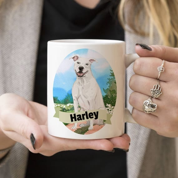 Pitbull Custom Dog Mug - Get your dogs name on a mug - Dog Breed Mug - Great gift for dog owner - Pitbull mug