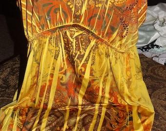 SALE Vintage Golden Sequined Gypsy Boho Disco Dress XL