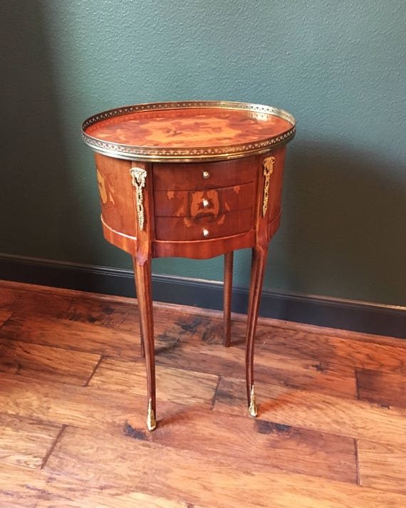 Louis XV Marquetry Side Table - French Nightstand - Antique Inlaid Wood Table With Brass Accents - French Antique Side Table