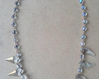 Vintage Crystal Necklace  AB Art Deco Necklace Aurora Borealis Necklace Iridescent Prom