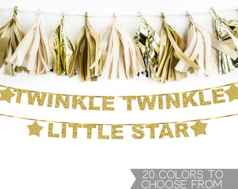 Twinkle Twinkle Little Star Banner, Baby Shower, Gender Reveal, First Birthday, Gold Glitter