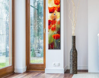 Vertical Art, Large Vertical Art, Oil Painting, Poppy Painting, Paintings on Canvas, Oil Painting Flowers, Flower Painting, Canvas Painting