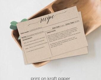 Recipe Card Printable, Recipe Card Printable Template, Printable Recipe Card, Recipe Card Template, Editable Recipe Card, Printable, 1121