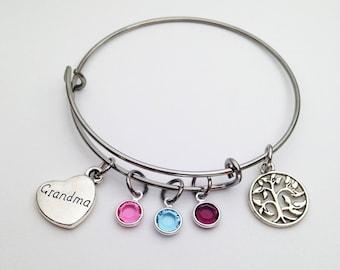 Grandma Gift Personalized, Grandma Mothers Day Gift, Grandma Gift, Mothers Day Gift for Grandma Birthstone Bracelet, Grandma Jewelry Grandma