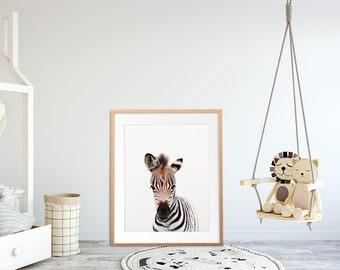 Zebra Print, Nursery Art, Safari Animal Wall Art, Safari Nursery Decor, Baby Zebra, Animal Prints, African Animals, Kids Room Printable Art