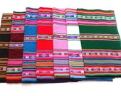 SALE 15% OFF* Large Size Genuine Aguayo Bolivian Peruvian fabric 92''x46'' (234x117 cm.) Tribal Ethnic Stripy woven textile, blanket