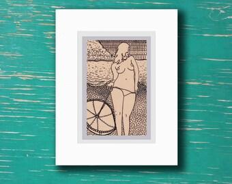 """Sunset Beach"" Nude Beach Drawing [4x6"" in 7x9"" frame]"