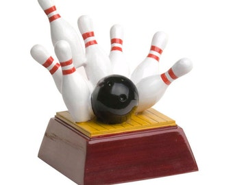 Color Bowling Resin Award - Bowling Trophy - 4 Inches Tall -  League Awards - Free Personalization