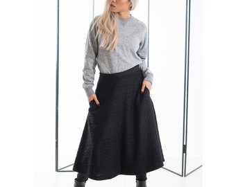 Black Midi Skirt with Pockets, Black Skirt, A Line Midi Skirt, Large Skirts, Neoprene, Cotton Full Skirt, Long Black Skirts, Below the Knee