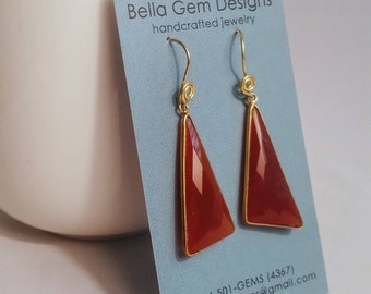 Orange Carnelian/Brass Dangle Earrings