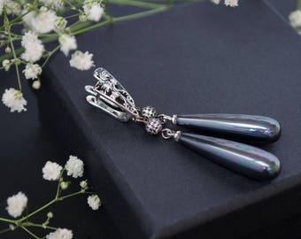 Black earrings Long earrings Pearl earrings Teardrop earrings Drop earrings Statement earrings Minimalist earrings Earrings gift for woman,