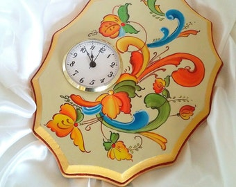 Silent Wall Clock - Rosemaling Telemark - Decorative Painting