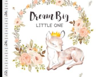 dream big little one, deer minky blanket, pink and grey, light peach double minky, doe, fawn, woodland