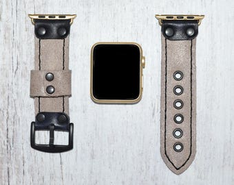 Light Gray Leather apple watch band 38mm / 42mm // apple watch accessories - leather apple watch strap - iwatch band leather - lugs adapter
