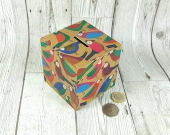 Parrot Money Box, Gift for Bird Lovers, Money Box, Gift for her, Piggy Bank, Gift for Wife, Parrots, Decoupage, Gift for Mum