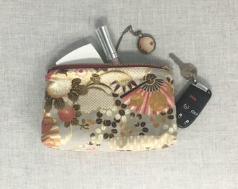 Small Zipper Pouch - Wash Bag - Lined Zipper Pouch - Christmas Gift for Her - Pencil Case - Essentials Bag - Fabric Zip Pouch - Woman Gift