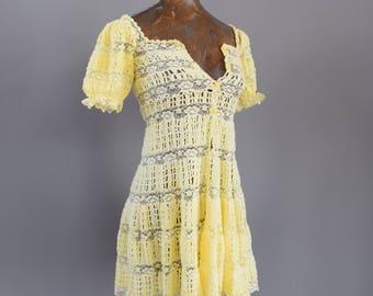 Vintage Crochet Mexican Dress Vintage Lace Dress