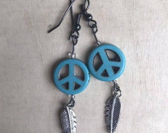 Feather Earrings - Peace Sign - Silver