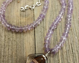 Vintage Purple Beaded Necklace with Glass Bead Pendant