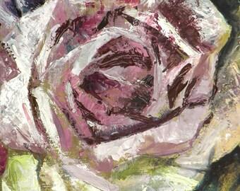 Palette knife oil painting. Roses
