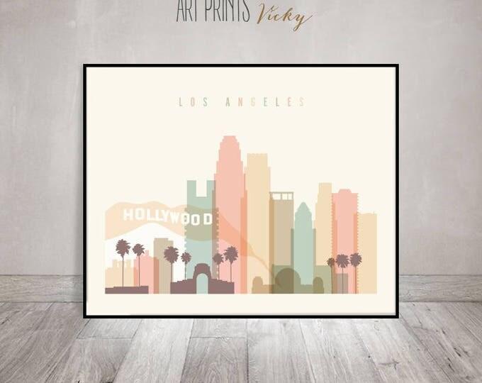 Los Angeles skyline art, Los Angeles print, Poster, Wall art, California, City print, Typography art, Travel gift, Home Decor ArtPrintsVicky