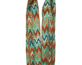 1970s Vintage Lurex Zigzag Long Skinny Scarf in the Style of Missoni Knit