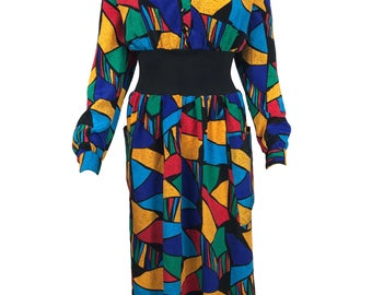 Vintage 1980s Waisted Dress Multi-Coloured Stained Glass Print with Stretch Waist Detail Long Sleeve Shoulder Pad