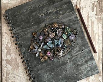 A4 Notebook, A4 Journal, Alternative notebook, Gothic notebook, Mixed media notebook, Flower notebook, Gothic journal, Butterfly journal.