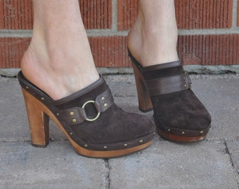 90s Ralph Lauren Mules // 90s Slip On Heels // 90s Wooden Platform Shoes // Vintage Mules // Leather Clogs // Vintage Clogs // Size 6