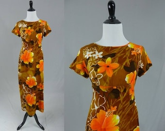 60s Hawaiian Maxi Dress - Brown Orange Yellow Floral - Cotton Barkcloth - Sample Shop Hawaii - Vintage 1960s - S M