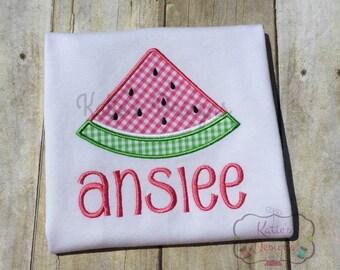 Watermelon Applique Shirt - Girl's Applique Shirt, Personalized, Watermelon, Gingham Applique, Summer Shirt, Girl's Shirt, Monogrammed