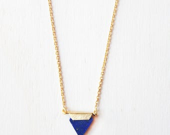 Lapis necklace, blue lapis tiny triangle necklace, gift under 40, gold triangle necklace lapis jewelry, blue lapis gemstone necklace