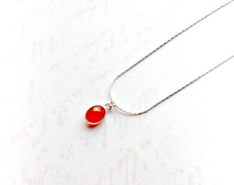 Sterling Silver Carnelian Necklace Gemstone Pendant Gifts for Her