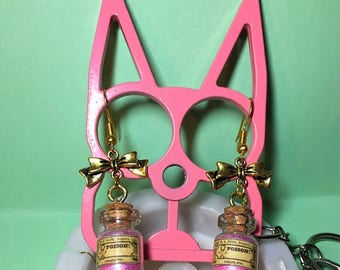Alternative / gothic / punk drop earrings bows with poison glass bottles