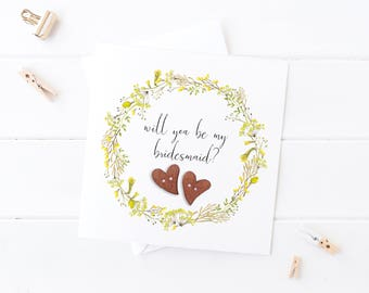 Yellow Floral Will You be my Bridesmaid Card