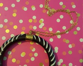 Black and White Crescent Pendant Necklace