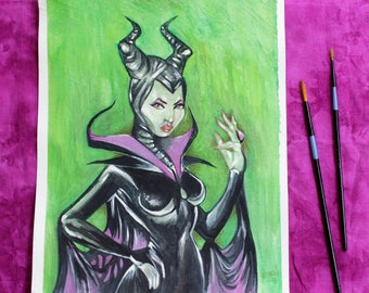 Maleficent ORIGINAL WATERCOLOR PAINTING, Maleficent Art, Fairy Tale Painting, Original Painting, Watercolor Painting, Maleficent Inspired