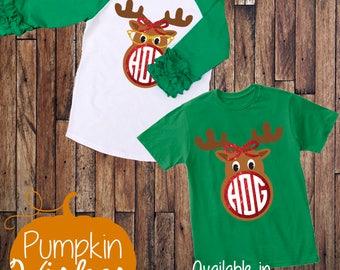 Christmas Raglan/Reindeer Shirt/Monogram Shirt/Ruffle Raglan/Glitter Raglan/Kids Christmas Shirt/Winter Raglan/Holiday Raglan