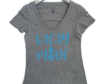 Vacay Mode Women's V Neck T Shirt Vacay Mode Shirt Summer Shirt Vacay Mode Shirt Pineapple Shirt Vacation Shirt Spring Break Shirt Vaca Mode