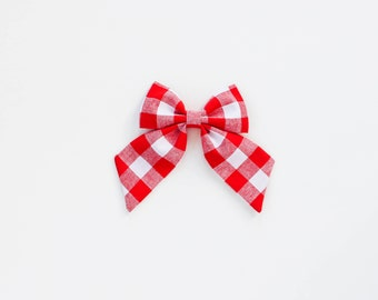Red Gingham Sailor Bow, Valentine's Bow, Sailor Bows, Hair Clip, Red Hair Bow, Toddler Bows, Hair Clips, Girl Hair Bow, Hair Accessories