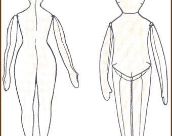 CW126E - 2 Basic Muslin Doll Body Patterns  - Cloth Doll Making Sewing Pattern