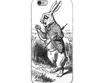 White Rabbit iPhone case from Alice in Wonderland, great literary or book club favor or gift