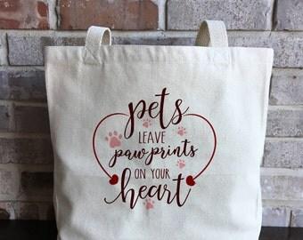 Pet Gift - Pet Tote bag - Cat tote bag - Dog Tote Bag - Cat Lover Gift - Dog Lover Gift - Paw Print Tote - Pawprint Tote - Christmas Gift