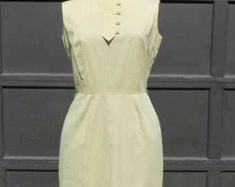 1960s pale yellow mini dress/ 1960s sleeveless mini dress/ vintage dress