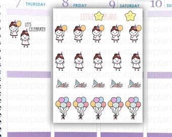 Mimi Hand Drawn Planner Stickers | Lets Celebration, balloons | Fits in Erin Condren LifePlannerTM, Kikki-K Planner